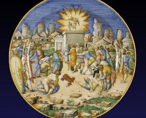 Grand plat d'apparat en majolique italienne d'Urbino à décor biblique. Atlier des Fontana. Vers 1550-1560 Diamètre: 46 cm  Galerie Théorème